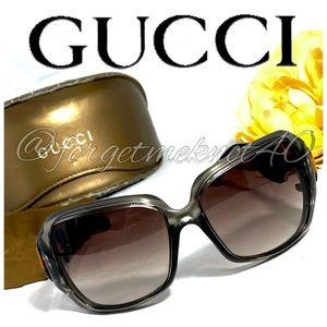 GUCCI Black Frame Bamboo Horsebit Sunglasses, Case & Cloth Amazing Condition! 💕